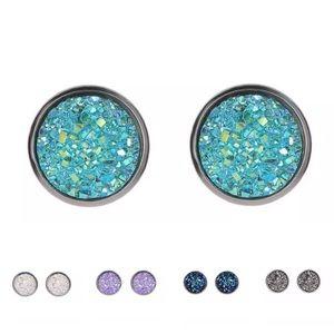 Jewelry - 2 for $18❤️ Aqua Druzy Quartz Stainless Earrings